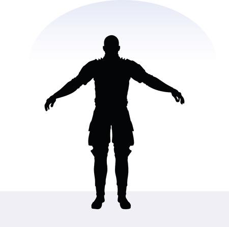 daimyo: EPS 10 vector illustration of man in samurai pose on white background