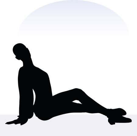 cherish: EPS 10 vector illustration of woman in loving pose on white background