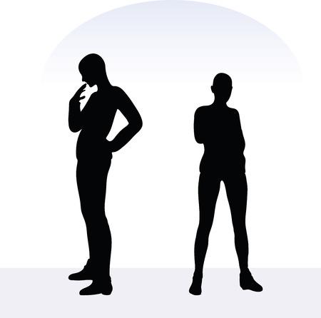 白い背景のポーズで気になる女性の EPS 10 ベクトル イラスト