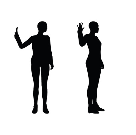 inflexible: EPS 10 vector illustration of woman in stern pose on white background