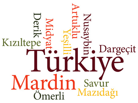 EPS 10 vector Illustration of the Turkish city Mardin subdivisions in word clouds Ilustração