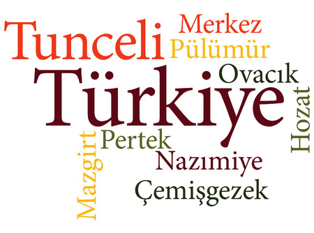 EPS 10 vector Illustration of the Turkish city Tunceli subdivisions in word clouds