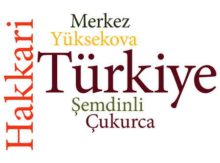 EPS 10 vector Illustration of the Turkish city Hakkari subdivisions in word clouds