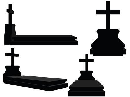 白い背景の上の墓のシルエットの EPS 10 ベクトル イラスト