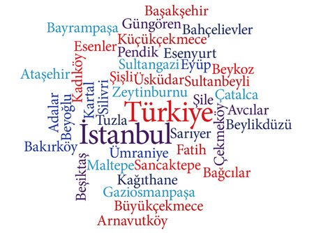 EPS 10 vector Illustration of the Turkish city Istanbul subdivisions in word clouds Ilustração