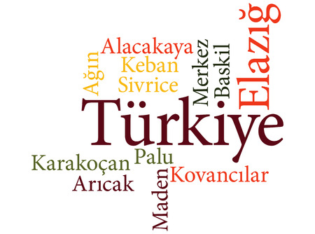 EPS 10 vector Illustration of the Turkish city Elazig subdivisions in word clouds