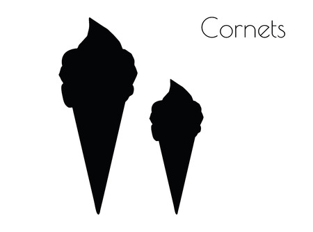 EPS 10 vector illustration of Cornets silhouette on white background
