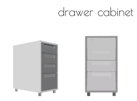 EPS 10 vector illustration of drawer cabinet silhouette on white background Ilustrace