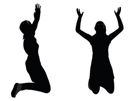 EPS 10 vector illustration of Muslim woman silhouette in pray pose Vettoriali