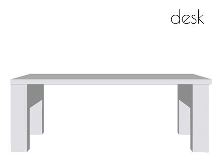 modern interior: EPS 10 vector illustration of desk  silhouette on white background Illustration