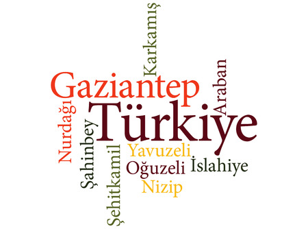 EPS 10 vector Illustration of the Turkish city Gaziantep subdivisions in word clouds