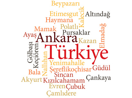 EPS 10 vector Illustration of the Turkish city Ankara subdivisions in word clouds Illustration