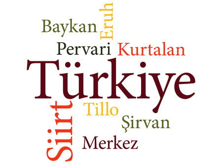 EPS 10 vector Illustration of the Turkish city Siirt subdivisions in word clouds