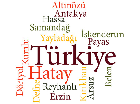 EPS 10 vector Illustration of the Turkish city Hatay subdivisions in word clouds