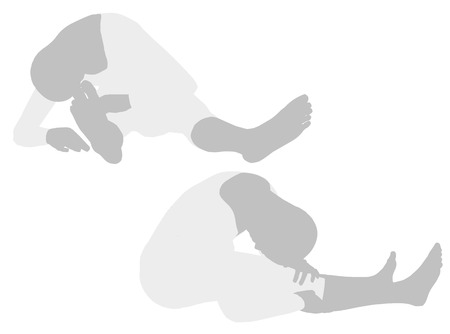 EPS 10 vector illustration of woman silhouette in  Sagging Right Pose