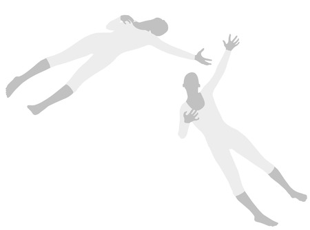 EPS 10 vector illustration of woman silhouette in Heart Attack Pose