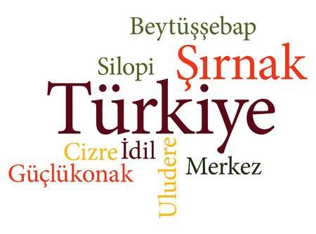 EPS 10 vector Illustration of the Turkish city Sirnak subdivisions in word clouds Ilustração
