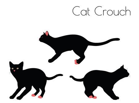 EPS 10 vector illustratie van kat silhouet in Crouch Pose Stock Illustratie