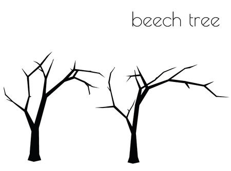 illustrazione 10 ENV del paesaggio dell & # 39 ; albero della siluetta di vettore su fondo bianco Vettoriali