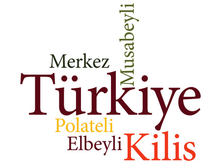 EPS 10 vector Illustration of the Turkish city Kilis subdivisions in word clouds Illustration