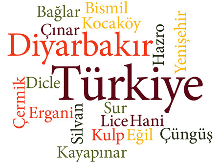 EPS 10 vector Illustration of the Turkish city Diyarbakir subdivisions in word clouds