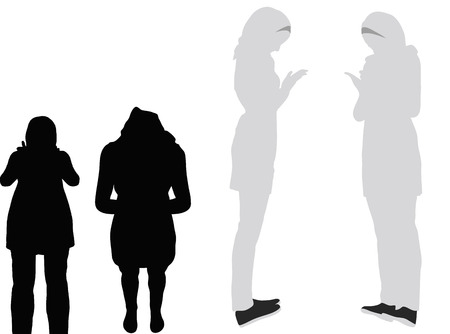 EPS 10 vector illustration of Muslim woman silhouette in pray pose Illustration
