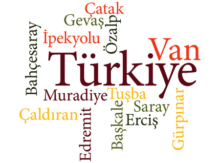 EPS 10 vector Illustration of the Turkish city Van subdivisions in word clouds Ilustração