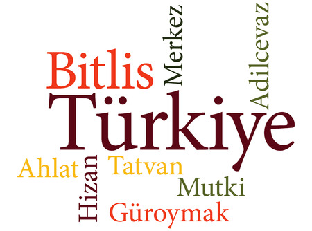 EPS 10 vector Illustration of the Turkish city Bitlis subdivisions in word clouds