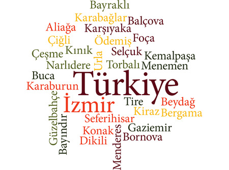 EPS 10 vector Illustration of the Turkish city Izmir subdivisions in word clouds