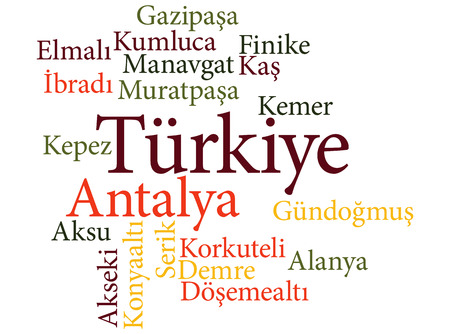EPS 10 vector Illustration of the Turkish city  Antalya subdivisions in word clouds