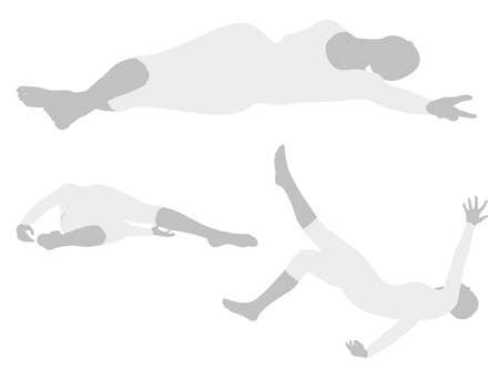 EPS 10 vector illustration of woman silhouette in  Side Sprawl Pose