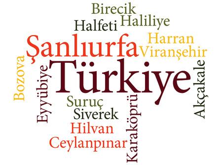 EPS 10 vector Illustration of the Turkish city Sanliurfa subdivisions in word clouds Ilustração