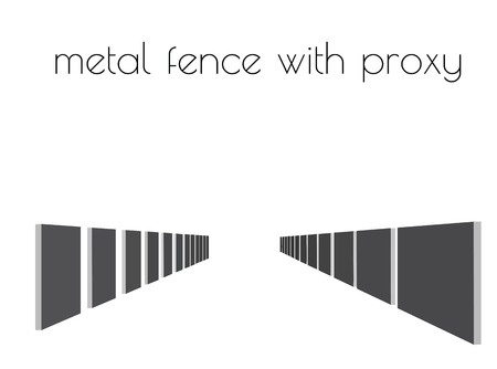EPS 10 vector illustration of metal fence silhouette on white background