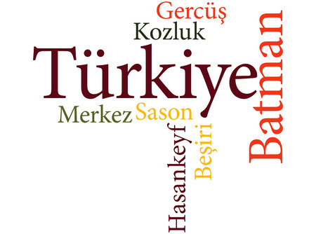 EPS 10 vector Illustration of the Turkish city Batman subdivisions in word clouds