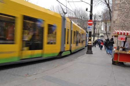 intresting: Image moving tram in Istanbul, Gülhane, İstanbul, Turkey