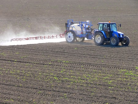 cultivated land: Blue tractor fertilizing fields