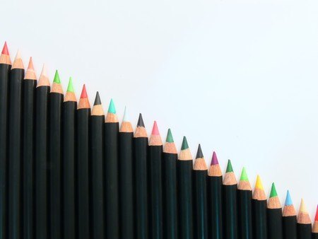 disposed: Many multi coloured pencils disposed like stairs Stock Photo