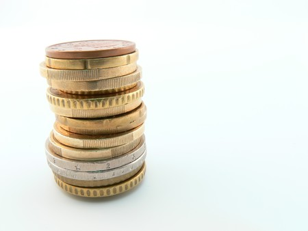 cony: Picture of a stack of many different euro cony Stock Photo
