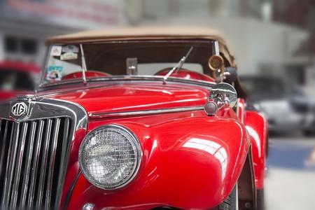 Closeup details photo of retro old Vintage car