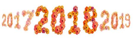 2018 Flower numbers,2018 change represents the new year 2018 Zdjęcie Seryjne - 92063241