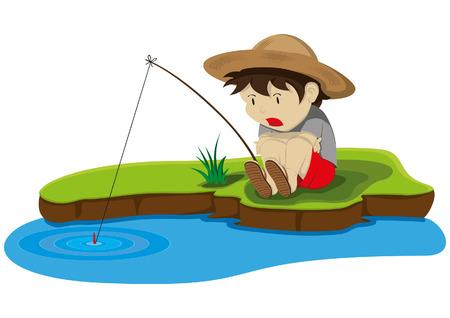 sombrero de paja: un ni�o con sombrero de paja tuvo su ca�a de pescar enganchado