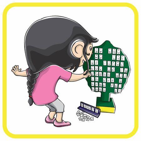 niña jugando con el árbol del alfabeto