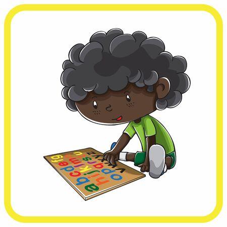 little boy playing alphabet puzzle