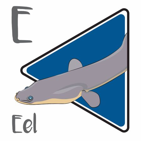 E for an Eel, a fish that looks like a snake with a small fin
