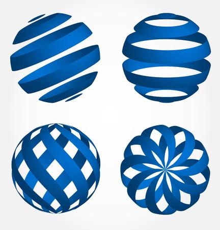 Abstract globe 3d - set Vector