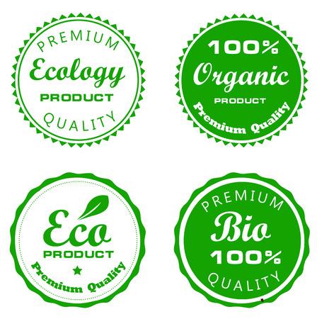 グリーン バイオ ・ エコ ラベル ベクトル図セット  イラスト・ベクター素材