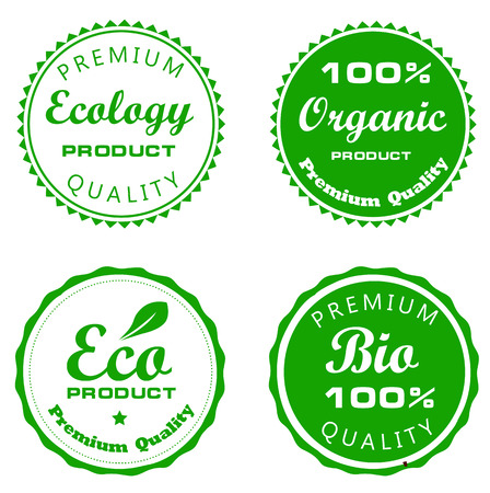 Set of green bio and eco label  Vector illustration Vector