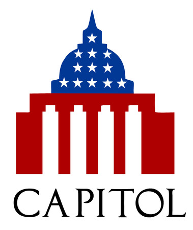 Illustration of the U S Capitol, Washington D C silhouette Vector