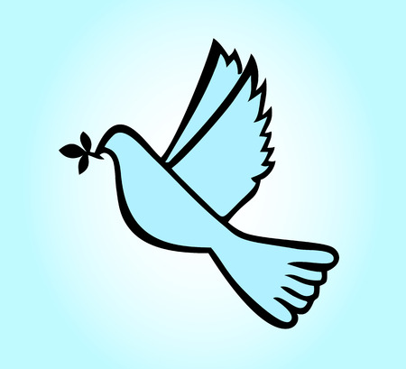Vector dove with branch Vector