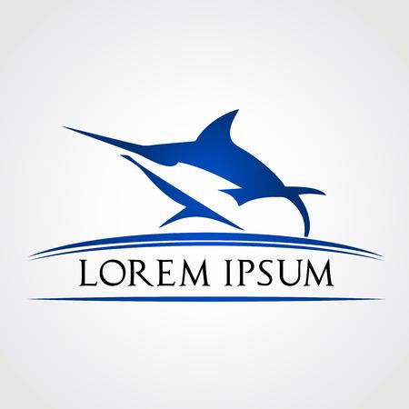 pez vela: Etiqueta peces Marlin - ilustraci�n del s�mbolo